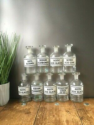 £23.50 • Buy Selection Of Vintage Glass Science Lab Chemist Apothecary Display Jars Bottles