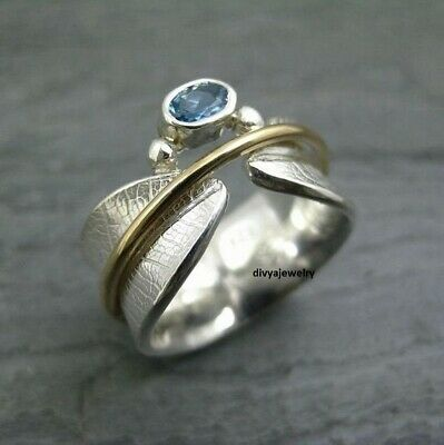 Blue Topaz Stone Solid 925 Sterling Silver Spinner Ring Meditation Ring Size Sr5 • 15.49£