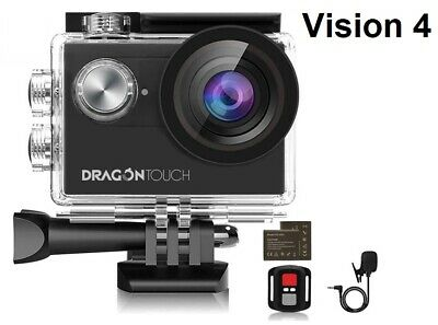 Dragon Touch 4K EIS Action Camera 16MP Vision 4 Support External Mic Underwater • 44.99£