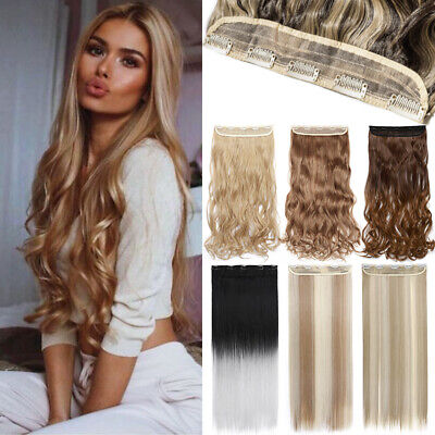 Extra Thick Clip In One Piece Long Hair Extensions Highlight Ombre Straight Wavy • 2.52£