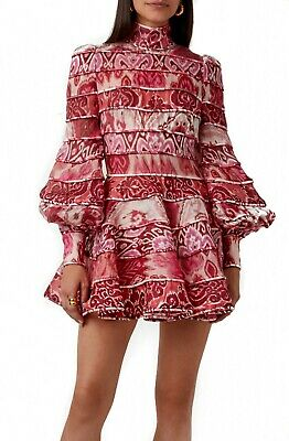 NEW Zimmermann Design Red Floral Spliced Long Sleeve MINI Dress 0,1,2 • 345$