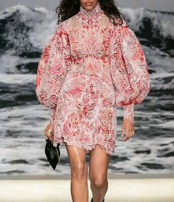 NEW Zimmermann Pink Design Floral SS20 Wavelength Long Sleeve MINI Dress 0,1,2 • 345$
