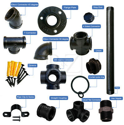 Industrial Pipe Shelf Bracket Components In Various Thickness (Black) • 4.99£