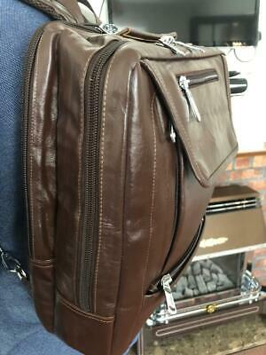 Nuoxiya Brawn Real Leather Backpack/Briefcase Large Office Laptop Bag Brand New • 59£