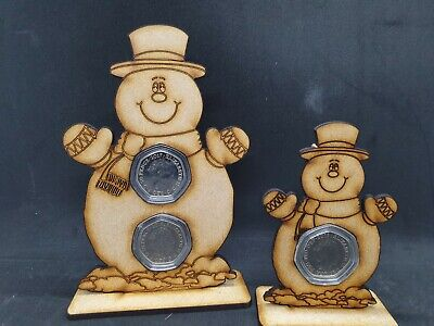 Snowman 50p 1 Or 2 Coin Stand Display MDF 50 Pence No Coin Included Just Capsule • 5£