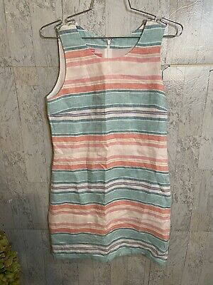 $14 • Buy Island Company Striped 100% Linen Classic Shift Lined Dress- Size S