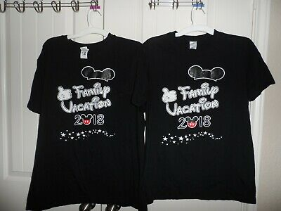 $9.99 • Buy Disney Family Vacation 2018 Set Of 2 Black T-shirts Size M & XL