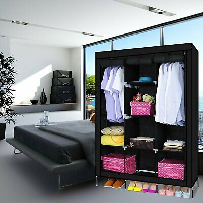 AU47.98 • Buy Portable Canvas Wardrobe Fabric Clothes Hanging Rail Storage Wardrobes Black