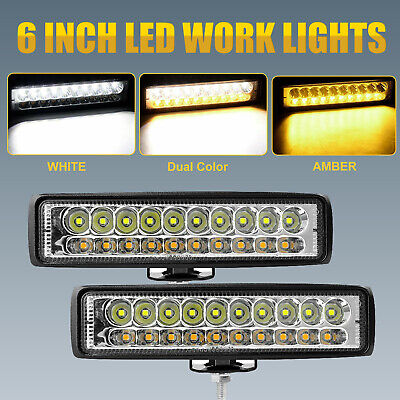 AU22.99 • Buy 2x 6inch LED Light Bar Spot Flood Combo White Amber Driving Truck Boat Offroad