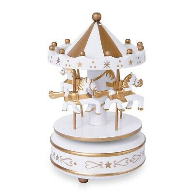 $13.99 • Buy Home Room Decor White Golden 4-Horse Wooden Carousel Music Box Fathers Day Gifts
