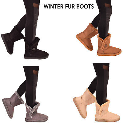 Ladies Womens Winter Fur Buttons Ankle Boots Snow Walking Casual Warm Shoes Size • 14.95£