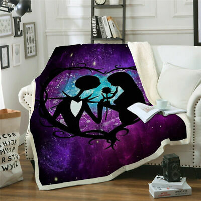 3D The Nightmare Before Christmas Warm Soft Sofa Bed Throw  Blanket T01 • 16.99£