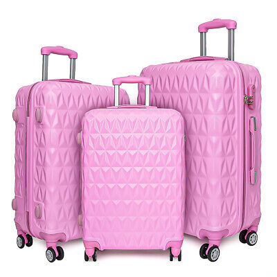 20/24/28  Small Large Suitcase Hard Shell Travel Trolley Hand Luggage Pink UK • 26.99£