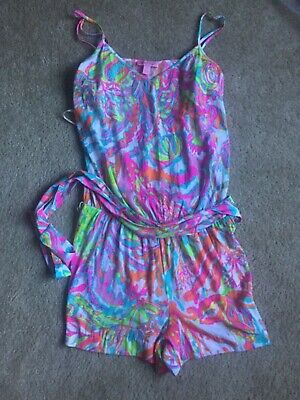 Lilly Pulitzer Romper Womens Small Tropical White Blue Pink Orange Floral • 34.99$