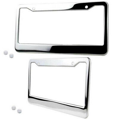 AU27.15 • Buy 2× Chrome Stainless Steel License Plate Frame Tag Cover+Screw Cap Accessories