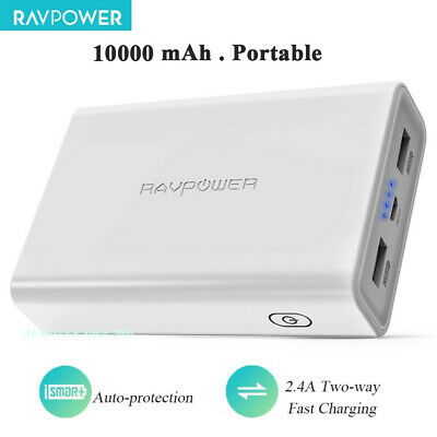 AU29.91 • Buy CLEARANCE RAVPower 10000mAh 2 USB Port 3.4A External Battery Power Bank