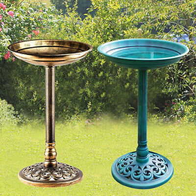 Outdoor Patio Garden Bird Bath Traditional Ornament Pedestal Birds Water Bowl • 11.99£