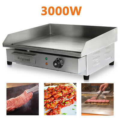 Xmas 3KW Commercial Electric Griddle Hot Plate Countertop Grill BBQ Ridgeyard • 75.53£