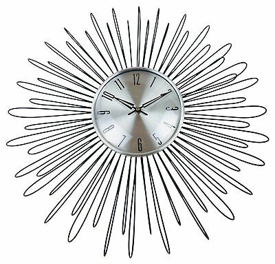 Retro 70's Vintage Style Silver Sun Metal Wire Kitchen Wall Clock Home Gift 48cm • 42.99£