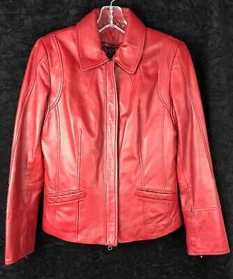 $ CDN52 • Buy DANIER Women's Red GENUINE LEATHER Removable Polyester Insulation Jacket SizeXS