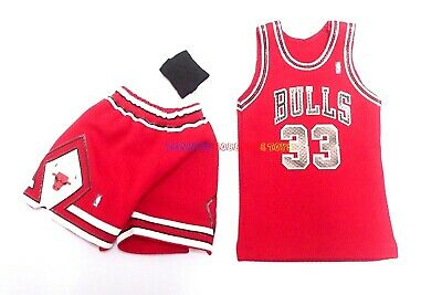 $19.99 • Buy New 1/6 NBA Chicago Bulls 33 Scottie Pippen Away Jersey Red For Enterbay Figures
