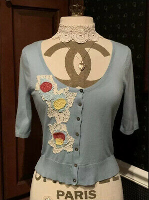 $ CDN32.61 • Buy Anthropologie Blue Embroidered Floral Cropped Cardigan Field Flower Sweater Sz M