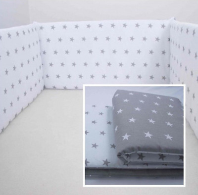 £10.99 • Buy COT BUMPER Padded  REVERSIBLE Straight For Cot Bed GREY STARS  Short/ All Round