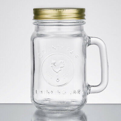Acopa 16 Oz. County Fair Mason Jar / Drinking Jar With Handle And Gold Metal Lid • 26.77£