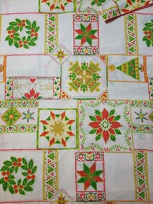 $ CDN35.87 • Buy Printed Cotton Blend Christmas Tablecloth Vintage 1970s Trees Bells Wreath EVC