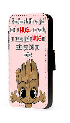 £11.15 • Buy Groot Phone Case Inspiring Cute Hug Quote Faux Leather Mobile Flip Wallet Case