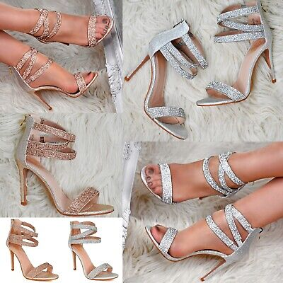 £26.86 • Buy Women Diamante Strappy Sandals Stiletto High Heel Party Evening Dress Shoes Size