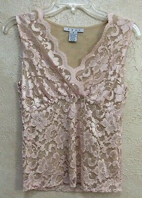 $16.99 • Buy CAbi Blush Pink Lace Overlay Stretch Cami Top #601 Sleeveless Blouse Sz M