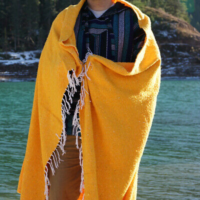 Mexican Blanket Baja Surf Serape Boho Falsa Throw Yoga Mat Beach Towell - Yellow • 21.70£