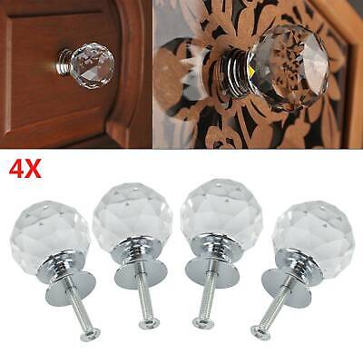4Pcs Clear Crystal Diamond Glass Door Knobs Cupboard Drawer Furniture Handle • 3.89£