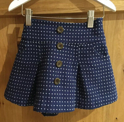 Beautiful D'arcy Brown London Navy & White Polka Dot Wool Skirt 4 Years • 8£