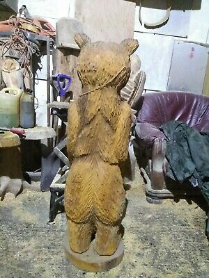 Great Christmas Gift Idea Chainsaw Carving Elm Bear Wooden Garden Or Home Look • 340£