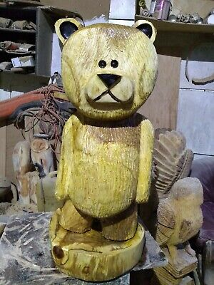 Great Christmas Gift Idea Chainsaw Carving Elm Teddy Bear Wooden Garden  Home  • 220£
