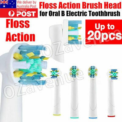 AU5.25 • Buy 20pcs Oral B Compatible Electric Toothbrush Replacement Brush Heads FLOSS ACTION