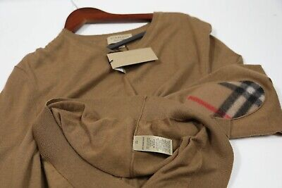 $250 • Buy #402 Burberry Cashmere & Cotton Check Elbow V Neck Sweater Size XL