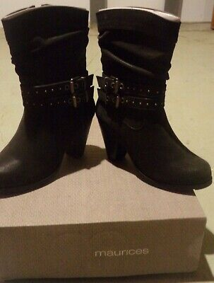 $ CDN71.59 • Buy Maurices Women's Black Boots Size 5 1/2 New In Box Studded Buckle Mid Calf Rikki