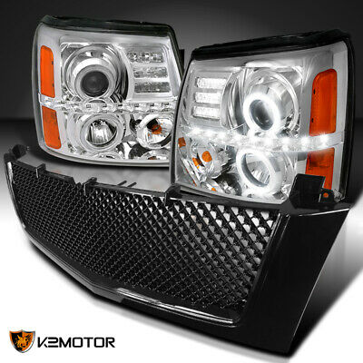 $274.32 • Buy For 2002-2006 Escalade Clear LED Halo Projector Headlights+Glossy Black Grille