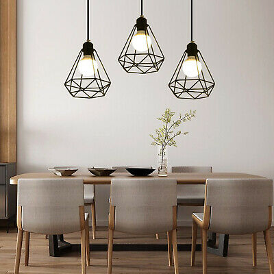 £9.49 • Buy Metal Pendant Light Shade Ceiling Industrial Geometric Wire Cage Lampshade Lamp