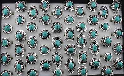 $ CDN24.53 • Buy Wholesale Mix Lots 20pcs Vintage Turquoise Stone Alloy Adjustable Rings Jewelry