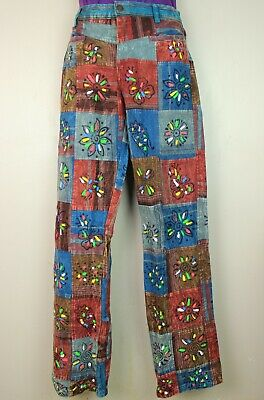 £22.99 • Buy Patchwork Casual Trousers Hippie Pants Festival 60s 70s Flared Combat Fancy HT4