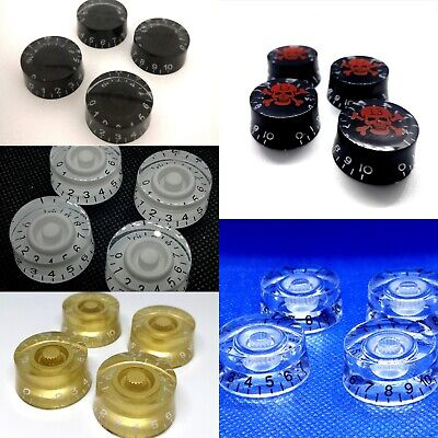 4 X Electric Guitar Speed Knobs For Les Paul Etc. Many Colours New UK 1st Class  • 4.99£