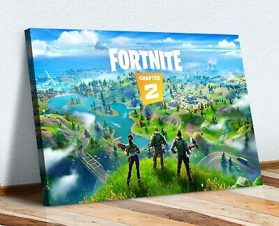 Fortnite  Canvas Wall Art Chapter 2 Artwork 30mm Deep Framed Print • 12.99£