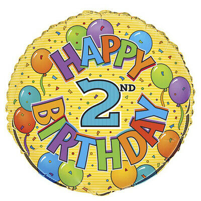 AU5.99 • Buy 2nd Birthday 45cm (18) Foil Balloon Packaged