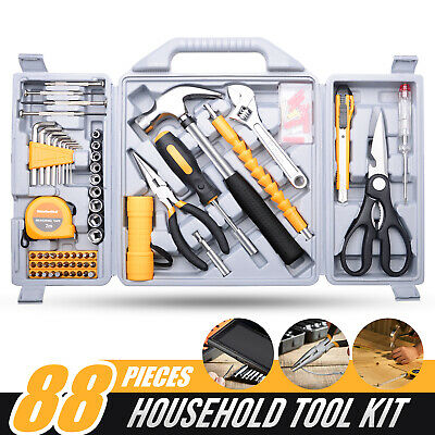 AU35 • Buy 88PCs Household Hand Tool Set Utility Kit Hammer Plier Scissor Knife Screwdriver