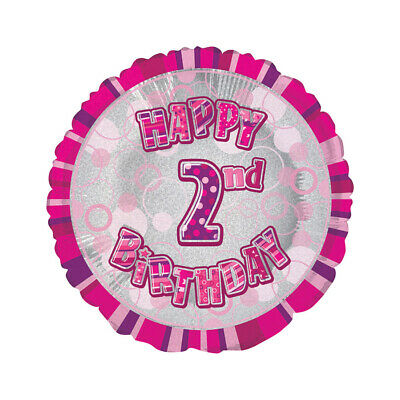 AU5.99 • Buy Glitz Pink 2nd Birthday Round  45cm Foil Balloon Party Supplies AUS Stock