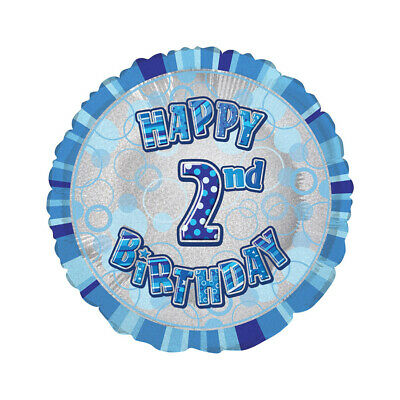 AU5.99 • Buy Glitz Blue 2nd Birthday Round 45cm Foil Balloon Party Supplies AUS Stock